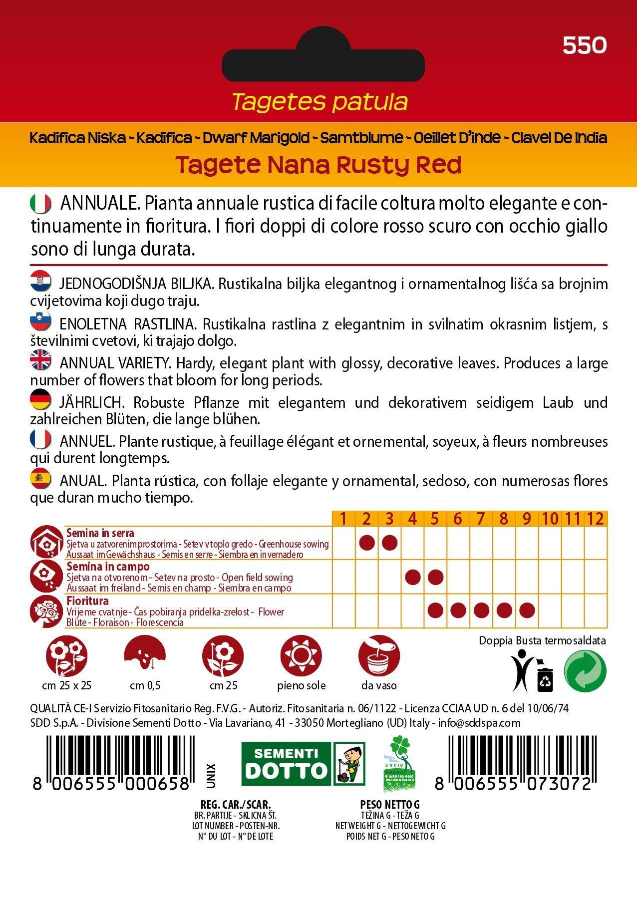 Semi Tagete Nana Rusty Red Ideale Per La Lotta Agli Inserti
